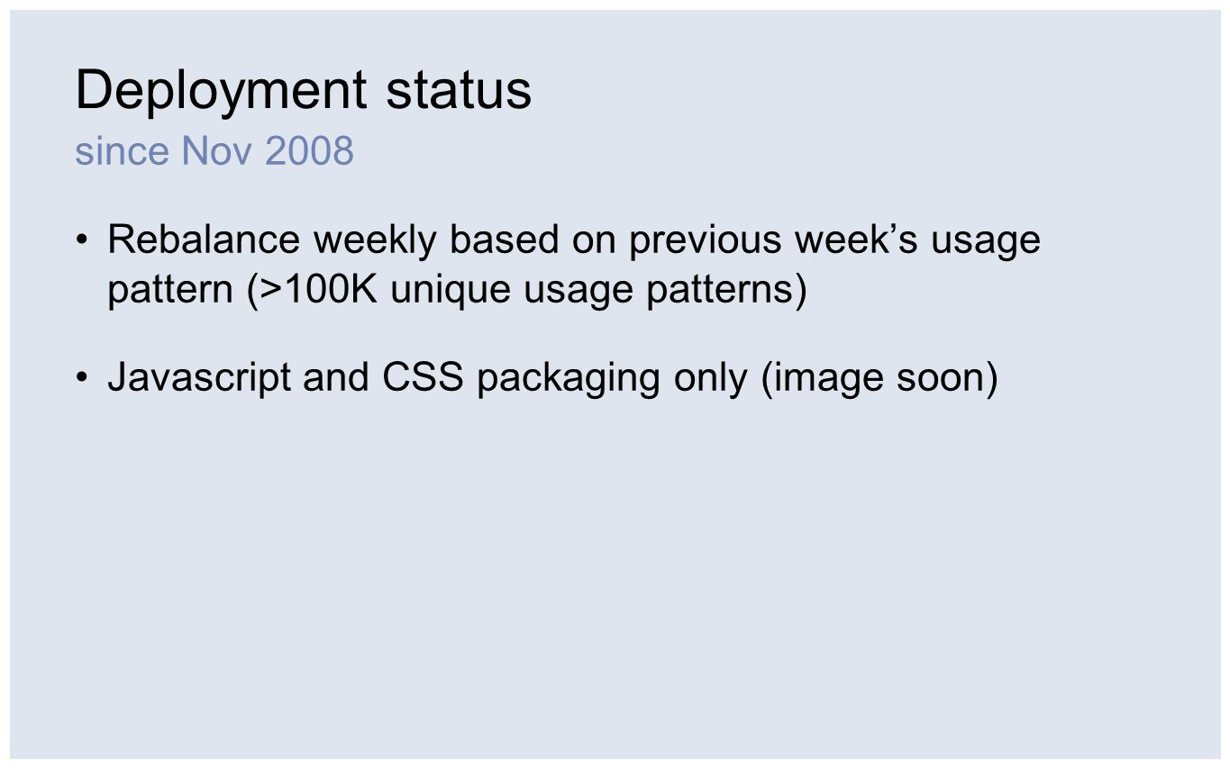 Deployment status since Nov 2008 Rebalance weekly based on previous week's usage pattern (>100K unique usage patterns) Javascript and CSS packaging on