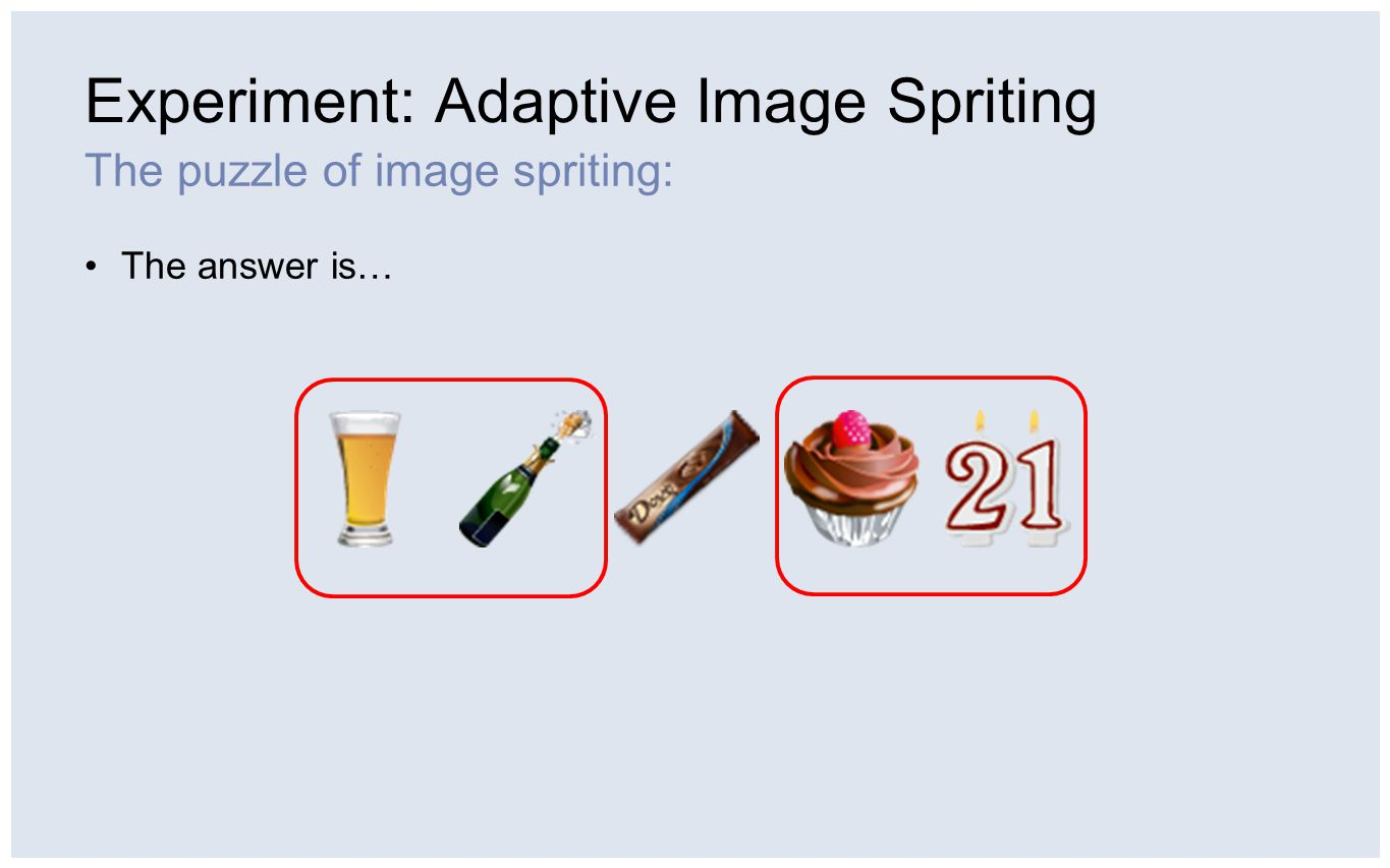 Experiment: Adaptive Image Spriting The puzzle of image spriting: The answer is…