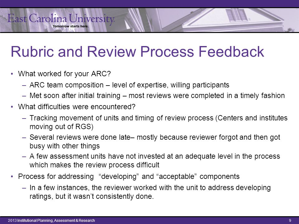 Rubric and Review Process Feedback What worked for your ARC.