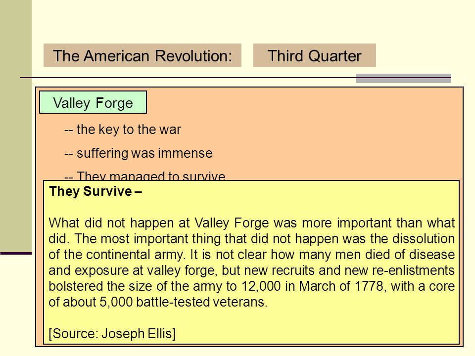 3/12/2007 (C) Copyright Sean Wilson. 2007.17 The American Revolution:Third Quarter Valley Forge -- the key to the war -- suffering was immense Real Su