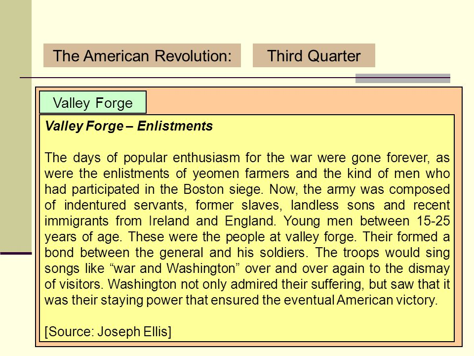 3/12/2007 (C) Copyright Sean Wilson. 2007.19 The American Revolution:Third Quarter Valley Forge the composition of the army had changed Washington's v