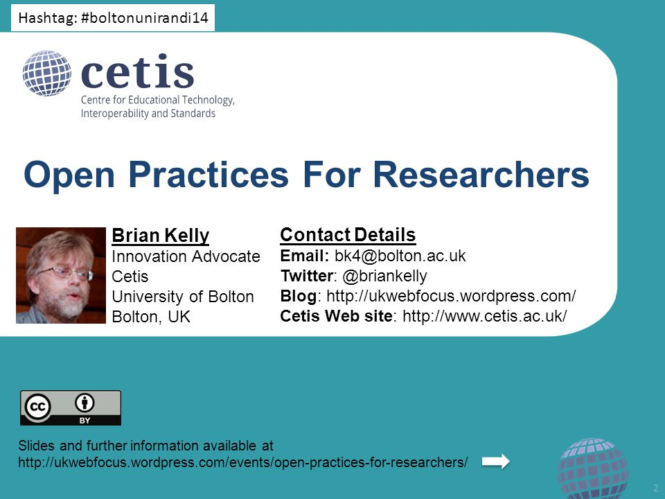 #boltonunirandi14 LinkedIn Links to paper added to LinkedIn Academia.edu My pages on UKOLN Web site and blog … 33