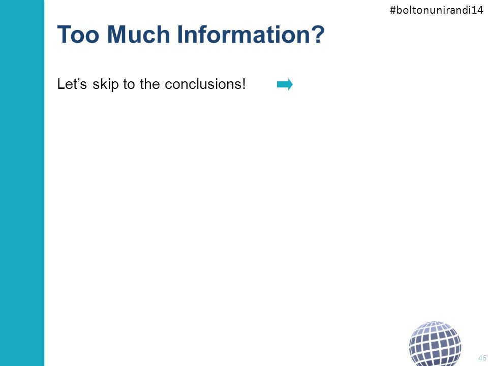 #boltonunirandi14 Too Much Information? Let's skip to the conclusions! 46