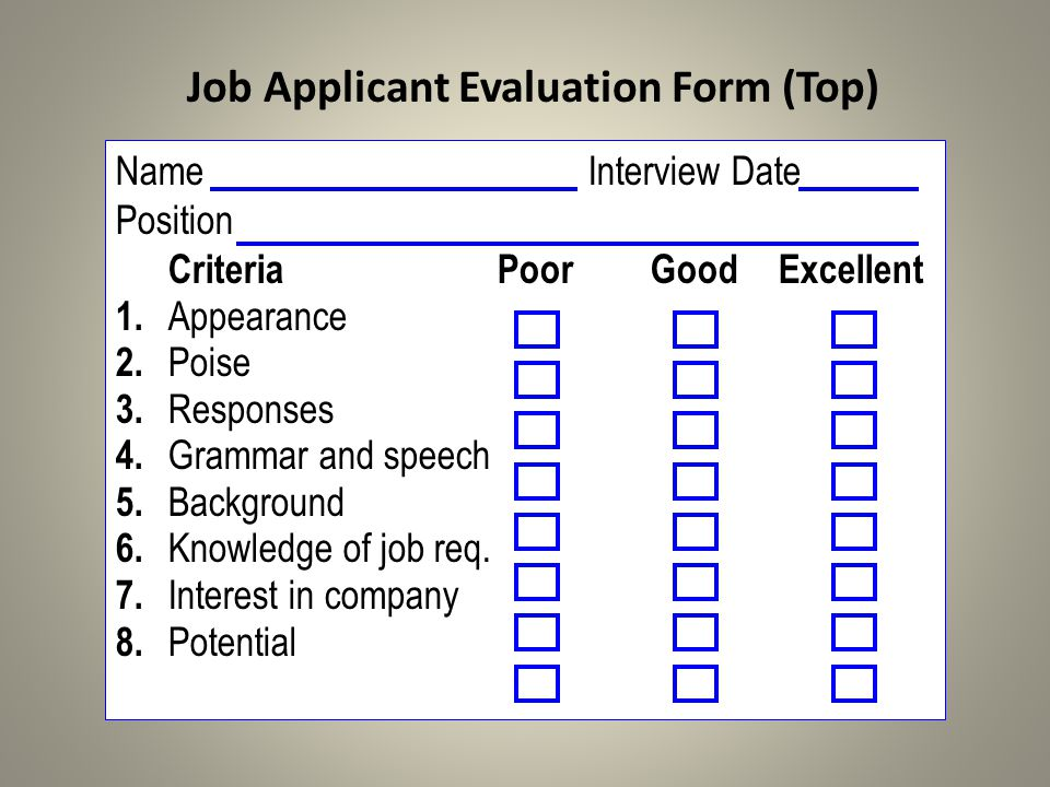 NameInterview Date Position CriteriaPoorGoodExcellent 1. Appearance 2. Poise 3. Responses 4. Grammar and speech 5. Background 6. Knowledge of job req.