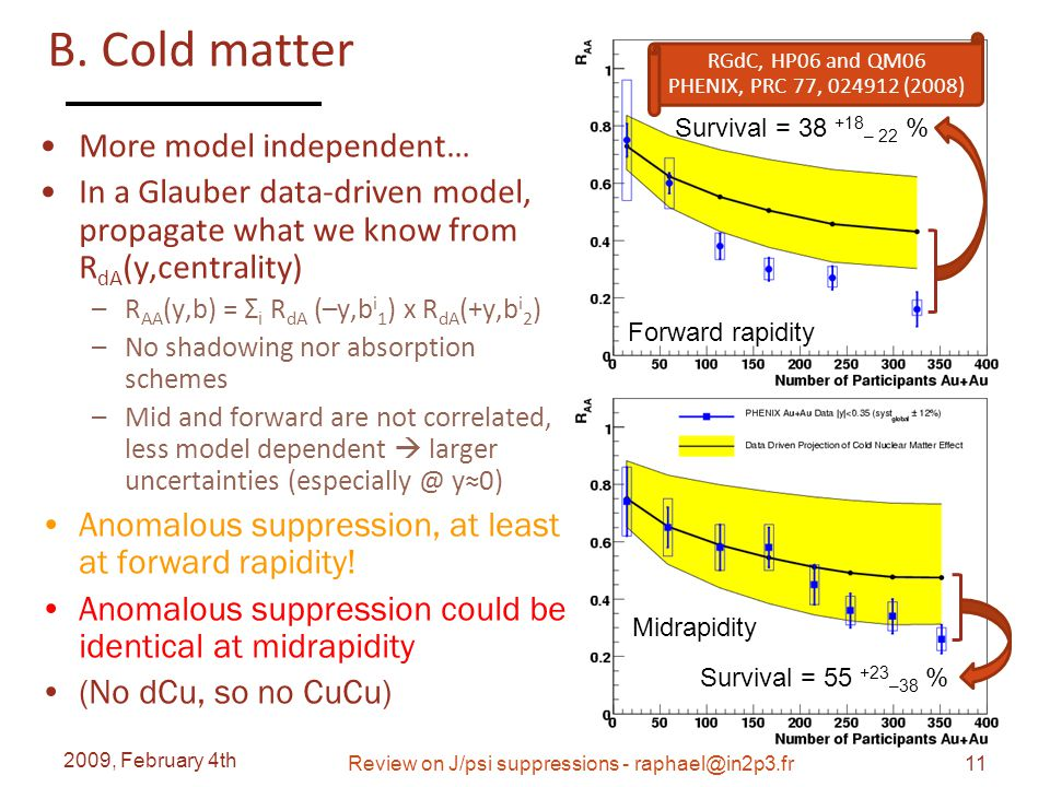 B. Cold matter More model independent… In a Glauber data-driven model, propagate what we know from R dA (y,centrality) –R AA (y,b) = Σ i R dA (–y,b i