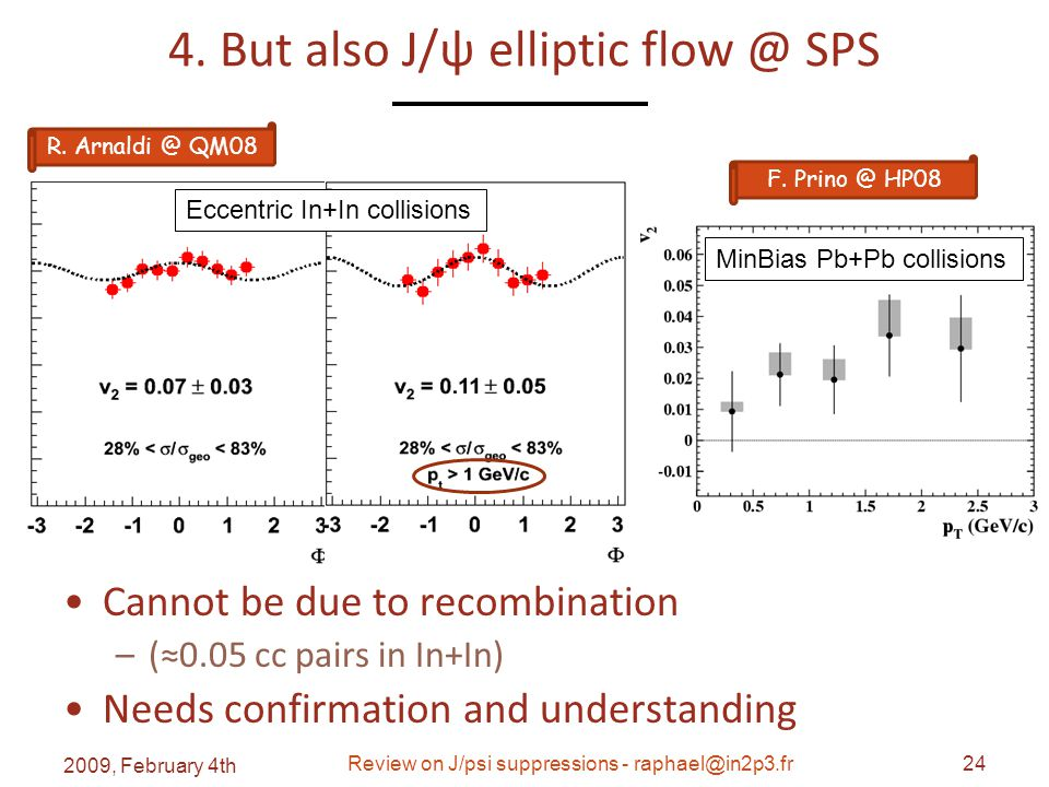 4. But also J/ψ elliptic flow @ SPS Cannot be due to recombination –(≈0.05 cc pairs in In+In) Needs confirmation and understanding 2009, February 4th