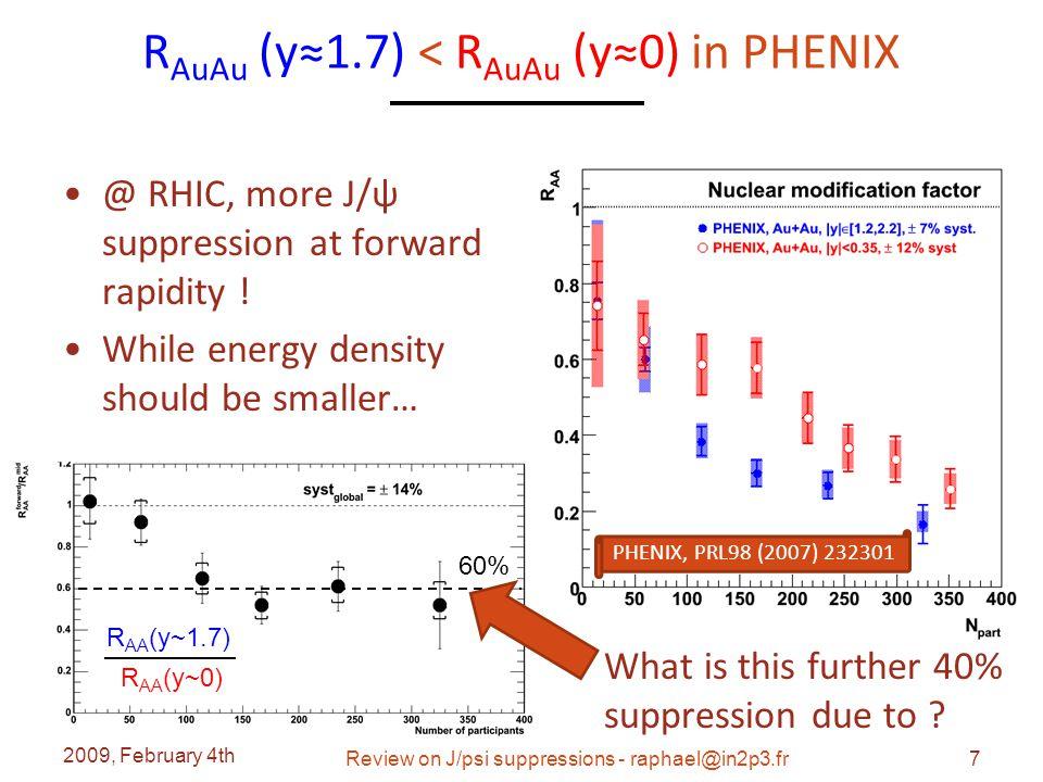 R AuAu vs R CuCu @RHIC Final CuCu analysis Slightly below 1 in CuCu 2009, February 4th Review on J/psi suppressions - raphael@in2p3.fr38 PHENIX, arXiv:0801.0220 R AA (y~1.7) R AA (y~0)