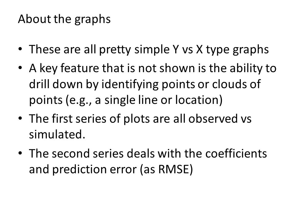 About the graphs These are all pretty simple Y vs X type graphs A key feature that is not shown is the ability to drill down by identifying points or