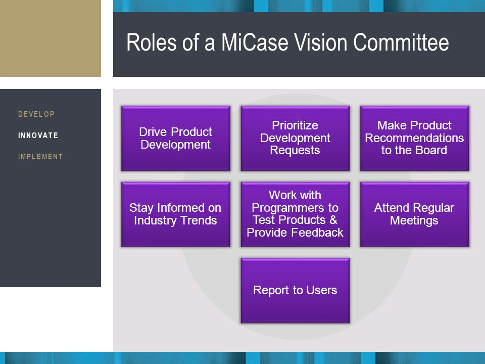 Business Consultants STRATEGIC IMPLEMENTATION Roles of a MiCase Vision Committee DEVELOP INNOVATE IMPLEMENT Drive Product Development Prioritize Development Requests Make Product Recommendations to the Board Stay Informed on Industry Trends Work with Programmers to Test Products & Provide Feedback Attend Regular Meetings Report to Users