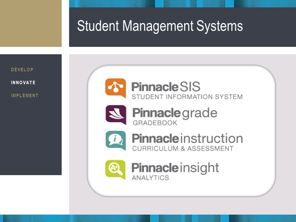 Business Consultants STRATEGIC IMPLEMENTATION Student Management Systems DEVELOP INNOVATE IMPLEMENT