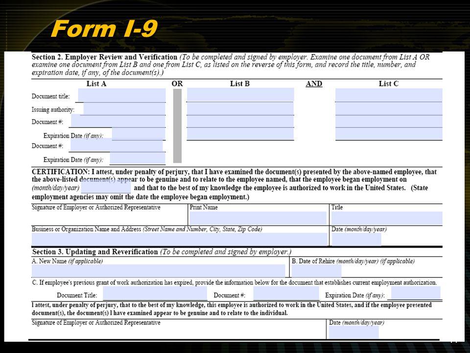 Form I-9 11