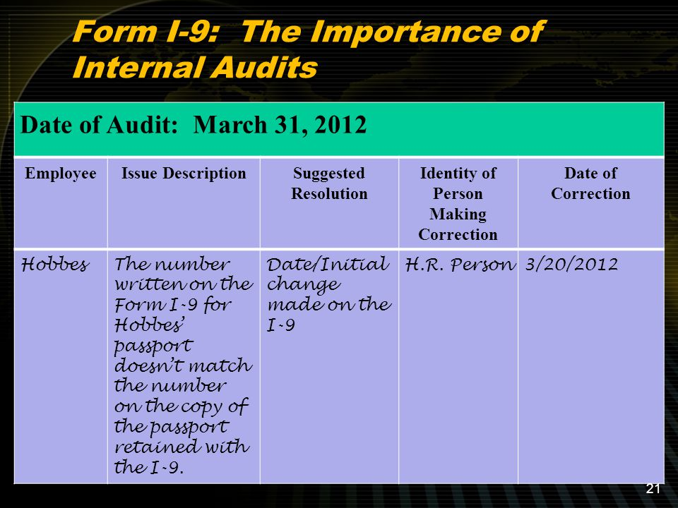 Form I-9: The Importance of Internal Audits Date of Audit: March 31, 2012 EmployeeIssue DescriptionSuggested Resolution Identity of Person Making Correction Date of Correction HobbesThe number written on the Form I-9 for Hobbes' passport doesn't match the number on the copy of the passport retained with the I-9.