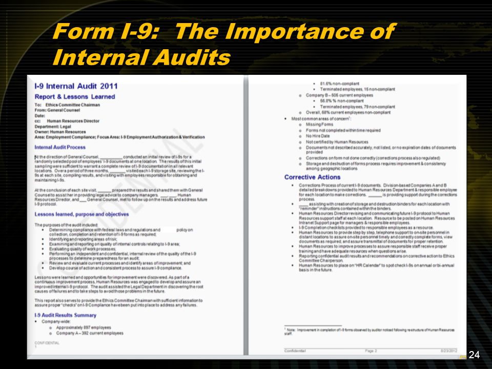Form I-9: The Importance of Internal Audits 24