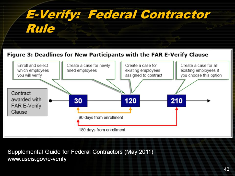 E-Verify: Federal Contractor Rule Supplemental Guide for Federal Contractors (May 2011) www.uscis.gov/e-verify 42