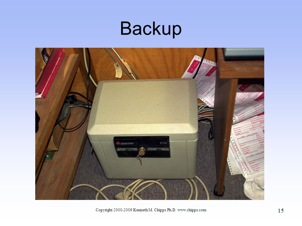 Backup Copyright 2000-2009 Kenneth M. Chipps Ph.D. www.chipps.com 15
