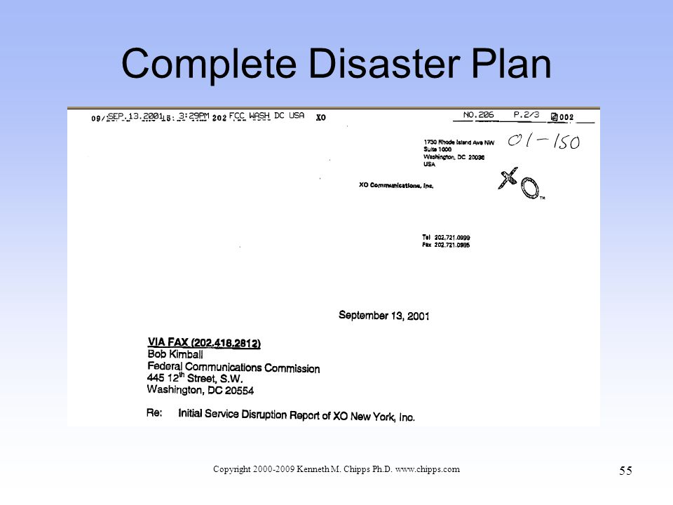 Complete Disaster Plan Copyright 2000-2009 Kenneth M. Chipps Ph.D. www.chipps.com 55