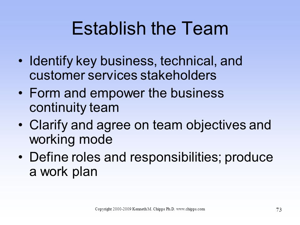 Establish the Team Identify key business, technical, and customer services stakeholders Form and empower the business continuity team Clarify and agree on team objectives and working mode Define roles and responsibilities; produce a work plan Copyright 2000-2009 Kenneth M.