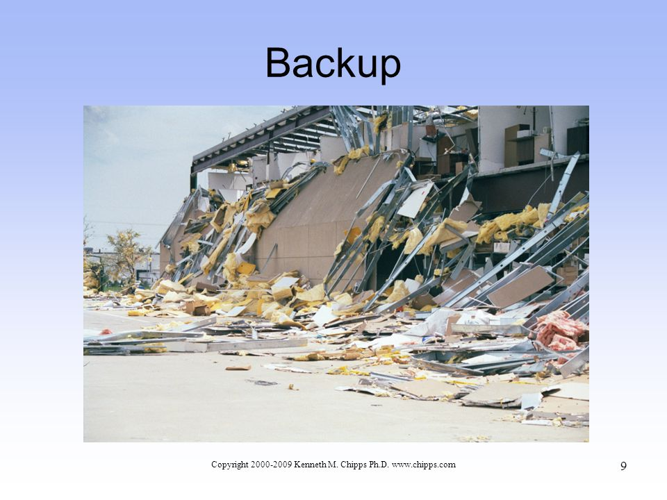 Backup Copyright 2000-2009 Kenneth M. Chipps Ph.D. www.chipps.com 9