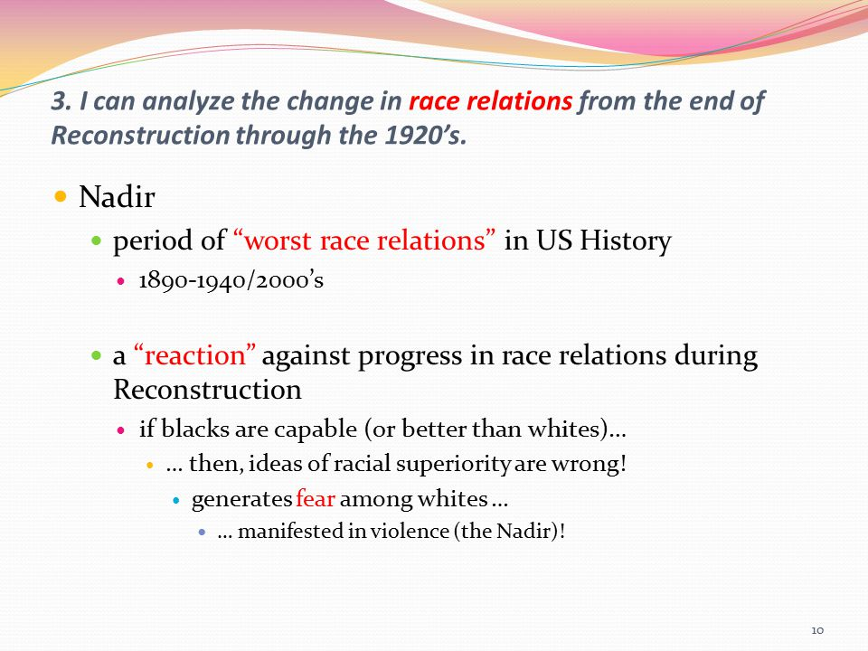 "3. I can analyze the change in race relations from the end of Reconstruction through the 1920's. Nadir period of ""worst race relations"" in US History"