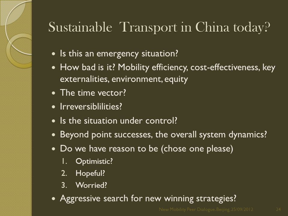 Sustainable Transport in China today. Is this an emergency situation.