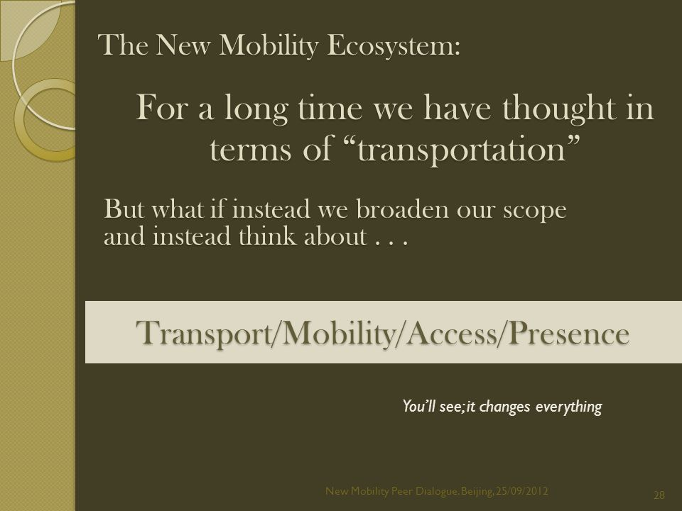 Transport/Mobility/Access/Presence New Mobility Peer Dialogue.