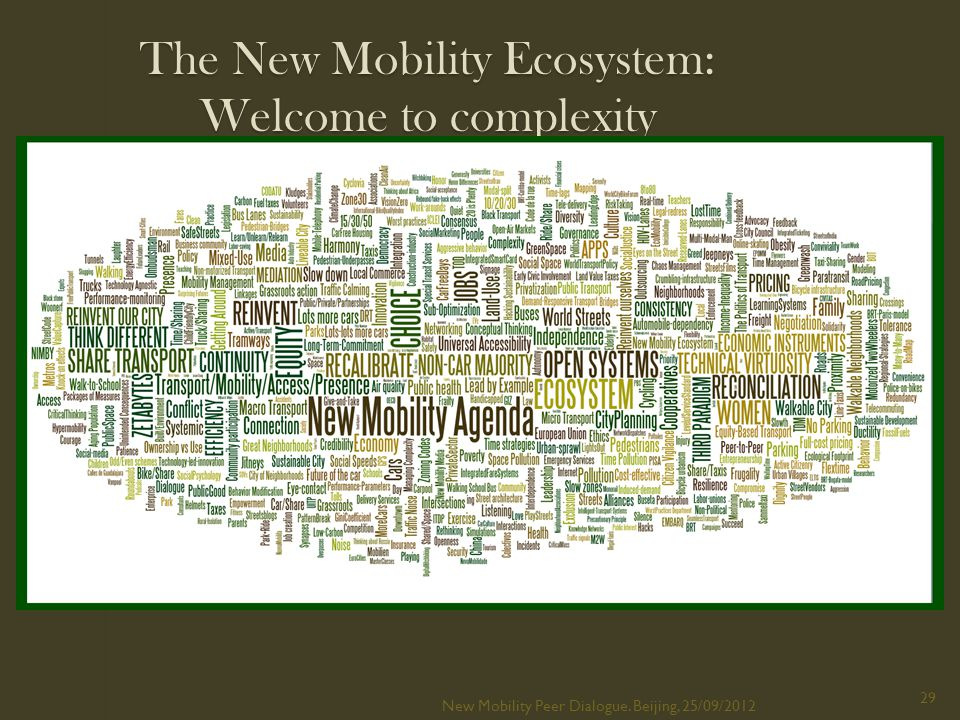 The New Mobility Ecosystem: Welcome to complexity New Mobility Peer Dialogue.