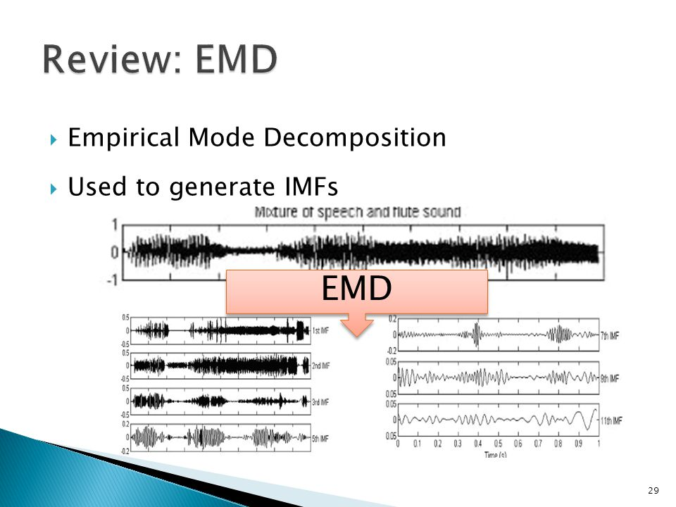  Empirical Mode Decomposition  Used to generate IMFs 29 EMD