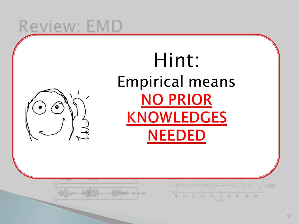  Empirical Mode Decomposition  Used to generate IMFs 30 EMD Hint: Empirical means NO PRIOR KNOWLEDGES NEEDED
