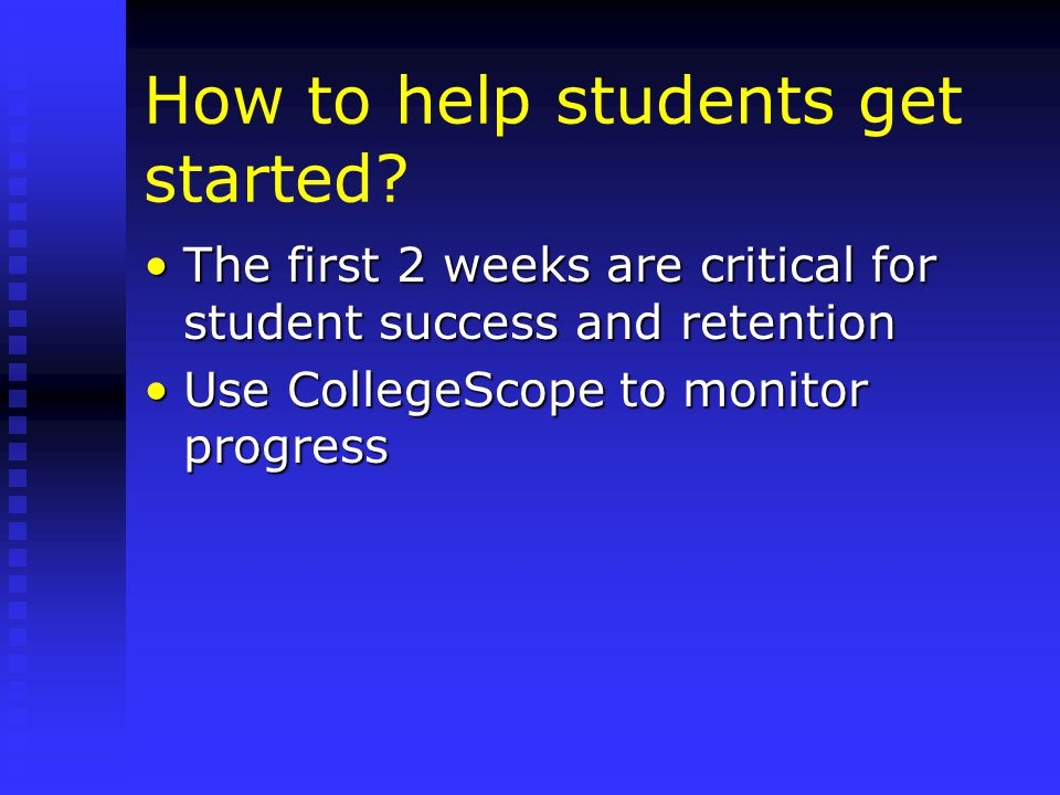 How to help students get started.