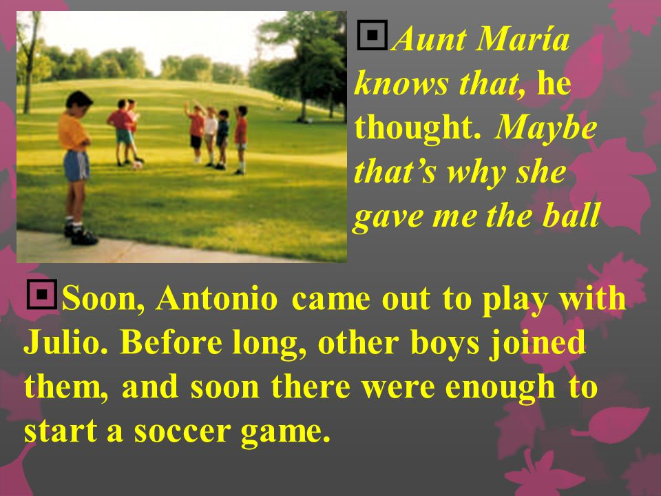 """ As Julio kicked the ball down the sidewalk in front of himself, he wondered about what Aunt María had said. """"Remember why it is yours,"""" she had said"""