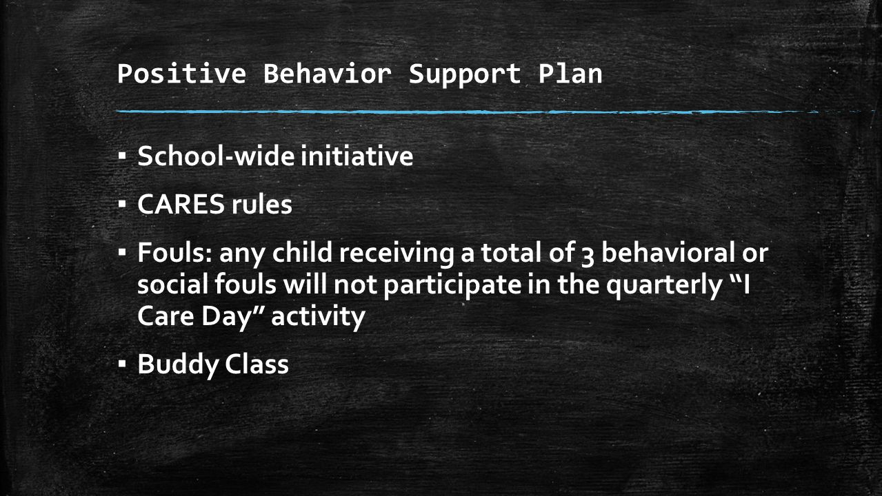 Positive Behavior Support Plan ▪ School-wide initiative ▪ CARES rules ▪ Fouls: any child receiving a total of 3 behavioral or social fouls will not participate in the quarterly I Care Day activity ▪ Buddy Class
