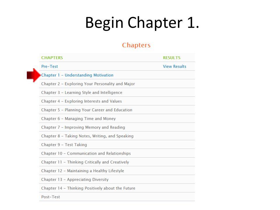 Begin Chapter 1.