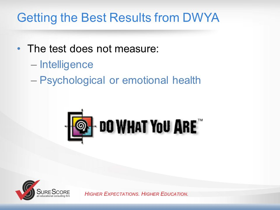 Getting the Best Results from DWYA The test does not measure: –Intelligence –Psychological or emotional health