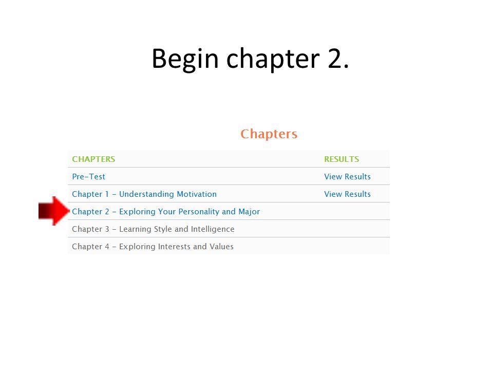 Begin chapter 2.