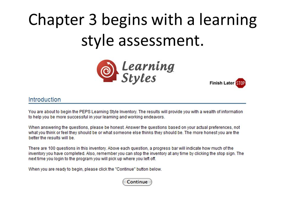 Chapter 3 begins with a learning style assessment.
