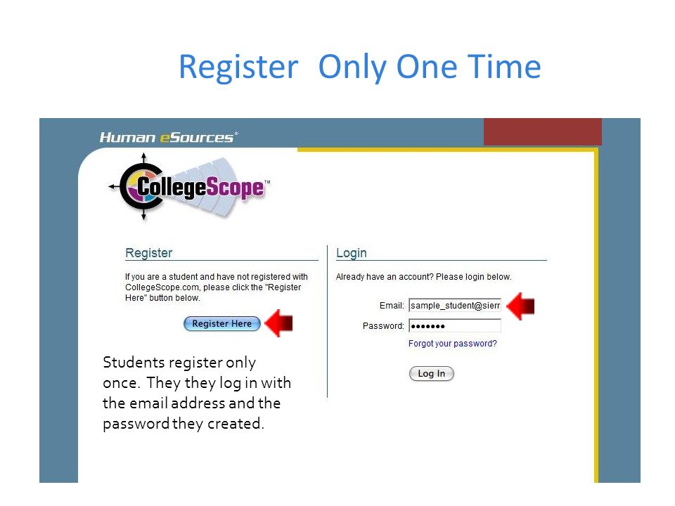 Register Only One Time Students register only once.