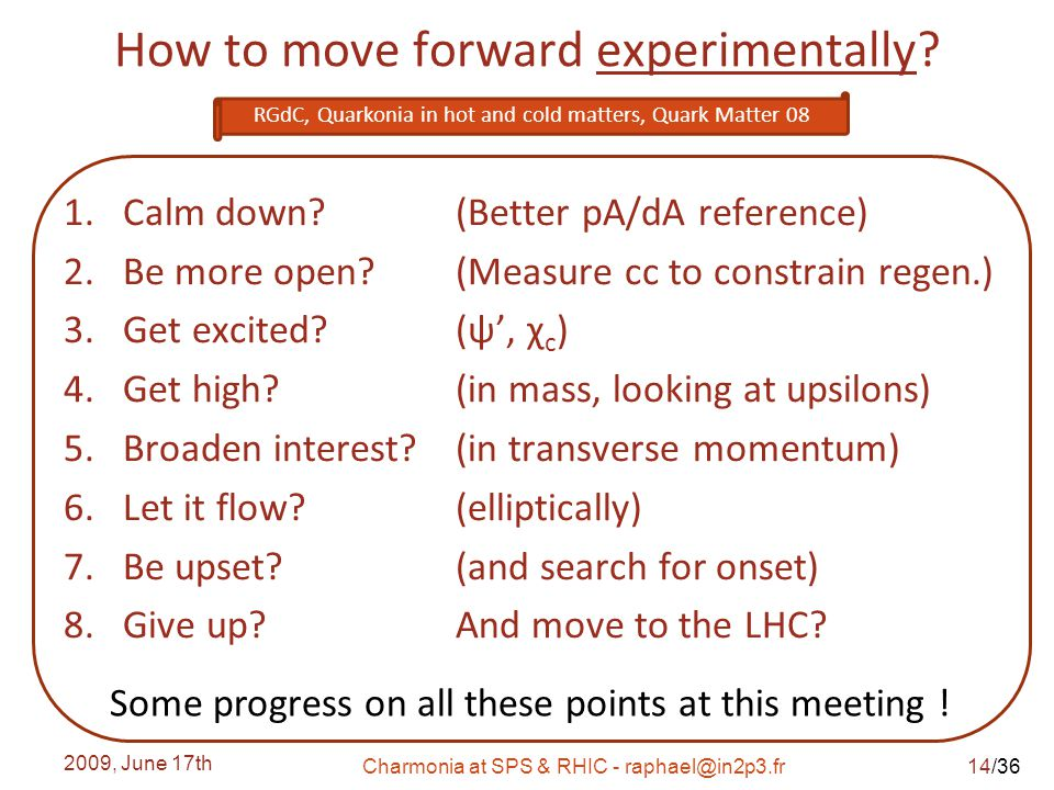 /36 How to move forward experimentally. 1.Calm down.