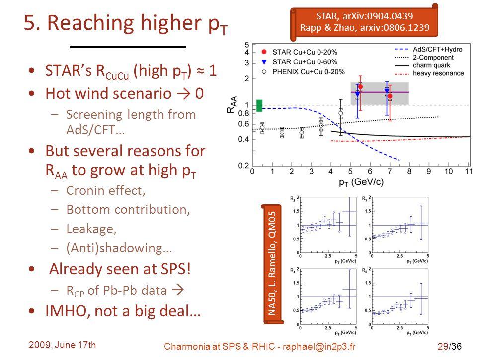 /36 5. Reaching higher p T 2009, June 17th Charmonia at SPS & RHIC - raphael@in2p3.fr STAR's R CuCu (high p T ) ≈ 1 Hot wind scenario → 0 – Screening
