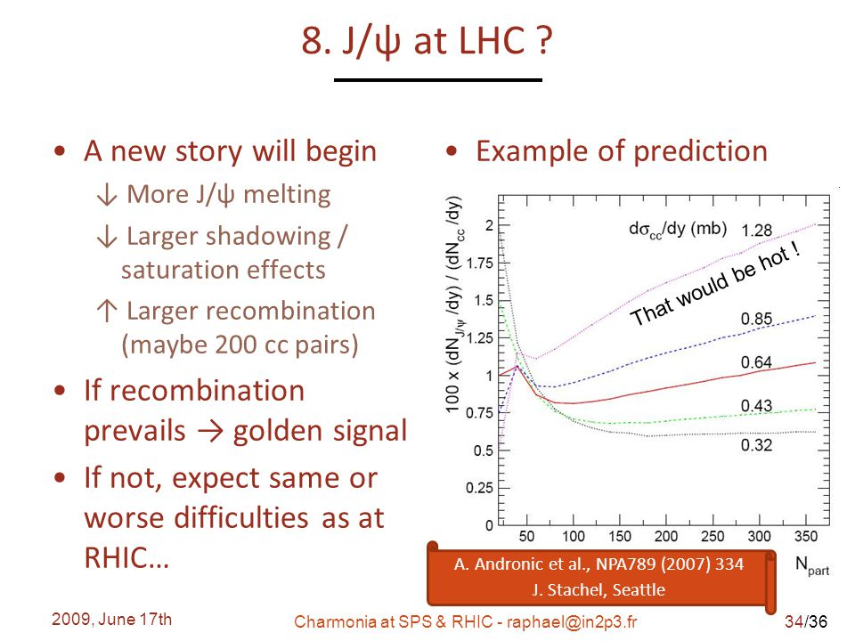 /36 8. J/ψ at LHC ? A new story will begin ↓ More J/ψ melting ↓ Larger shadowing / saturation effects ↑ Larger recombination (maybe 200 cc pairs) If r