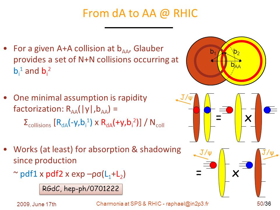 /36 From dA to AA @ RHIC b1b1 b2b2 b AA = x J/ψ = x J/ψ RGdC, hep-ph/0701222 For a given A+A collision at b AA, Glauber provides a set of N+N collisions occurring at b i 1 and b i 2 One minimal assumption is rapidity factorization: R AA (|y|,b AA ) = Σ collisions [R dA (-y,b i 1 ) x R dA (+y,b i 2 )] / N coll Works (at least) for absorption & shadowing since production ~ pdf1 x pdf2 x exp –ρσ(L 1 +L 2 ) 2009, June 17th Charmonia at SPS & RHIC - raphael@in2p3.fr50