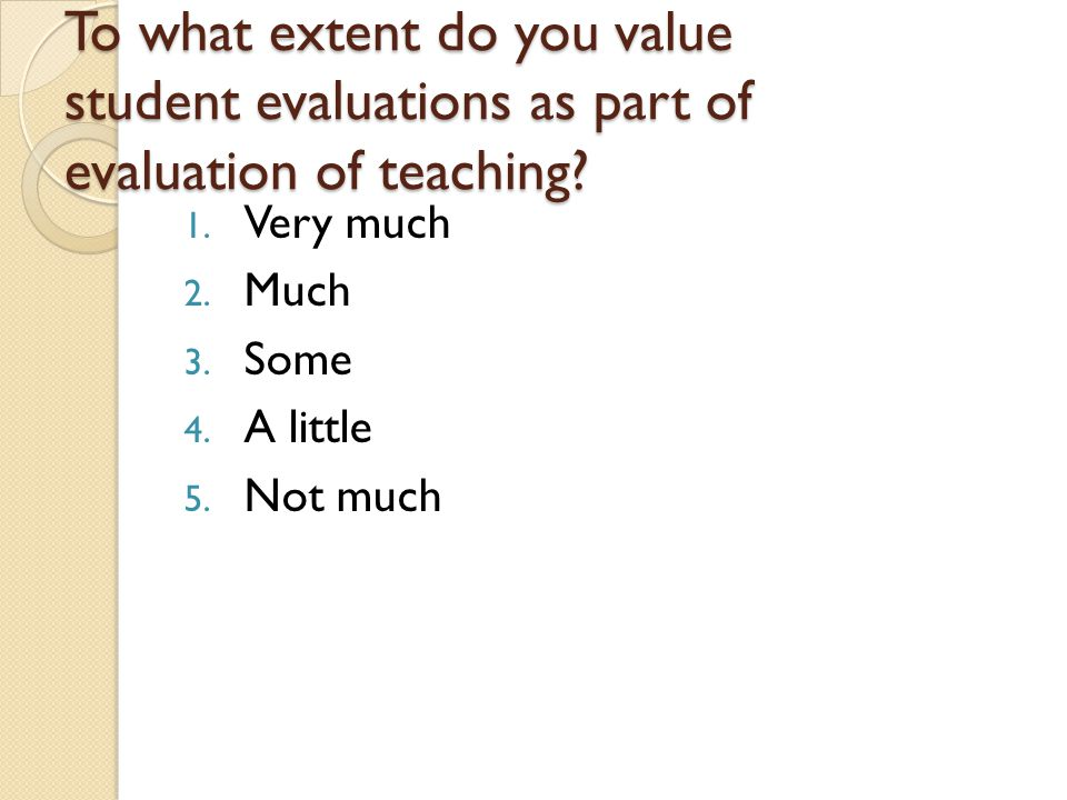 To what extent do you value student evaluations as part of evaluation of teaching.