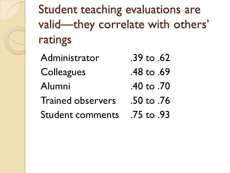 Student teaching evaluations are valid—they correlate with others' ratings Administrator.39 to.62 Colleagues.48 to.69 Alumni.40 to.70 Trained observers.50 to.76 Student comments.75 to.93