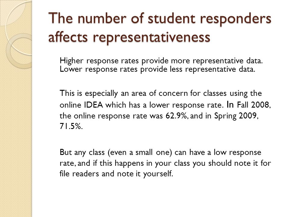 The number of student responders affects representativeness Higher response rates provide more representative data.