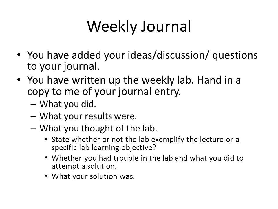 Weekly Journal You have added your ideas/discussion/ questions to your journal.