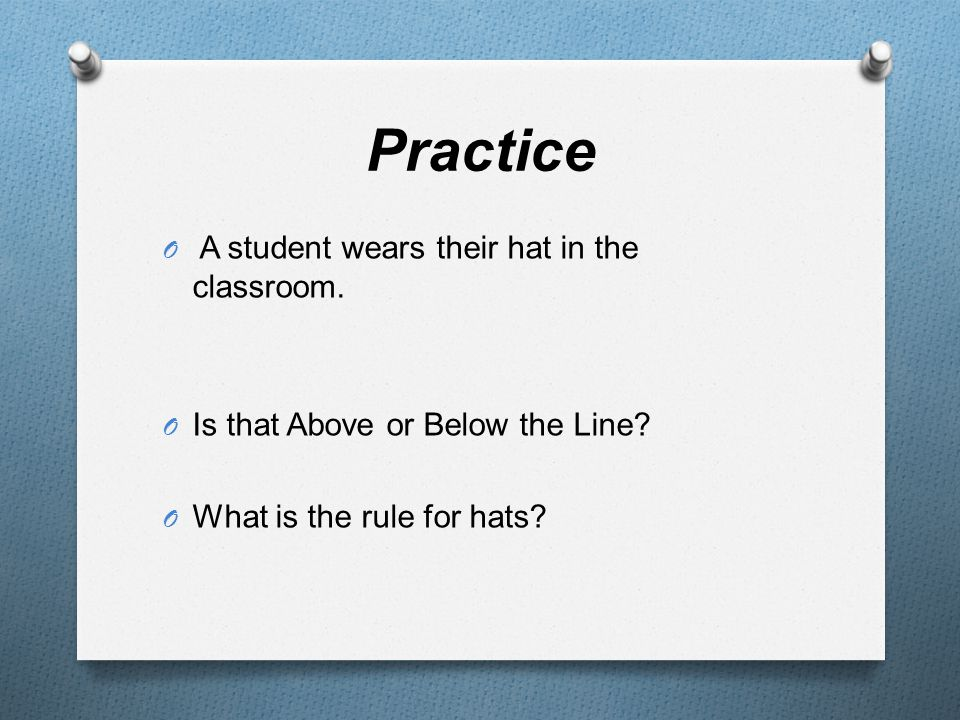 Practice O A student wears their hat in the classroom. O Is that Above or Below the Line? O What is the rule for hats?