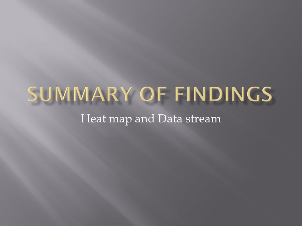 Heat map and Data stream