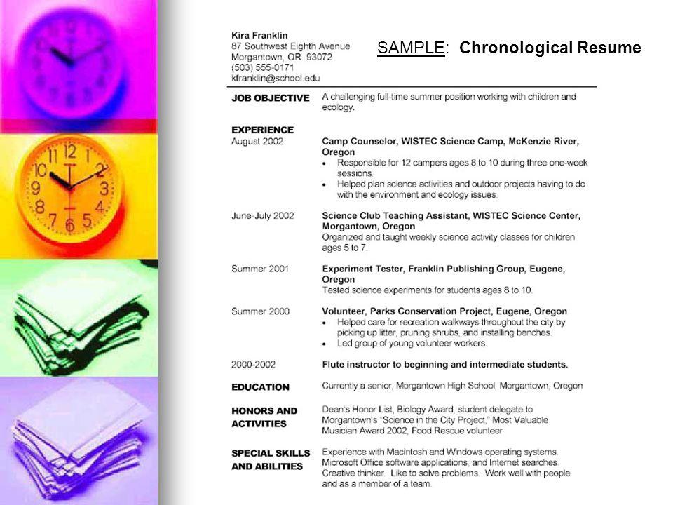 SAMPLE: Chronological Resume