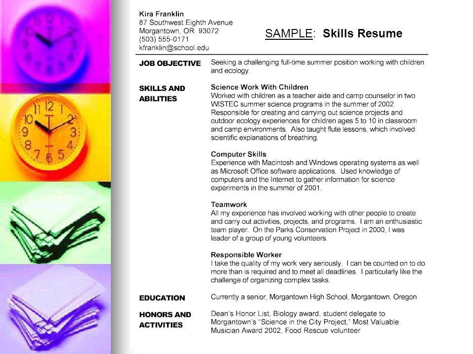 SAMPLE: Skills Resume