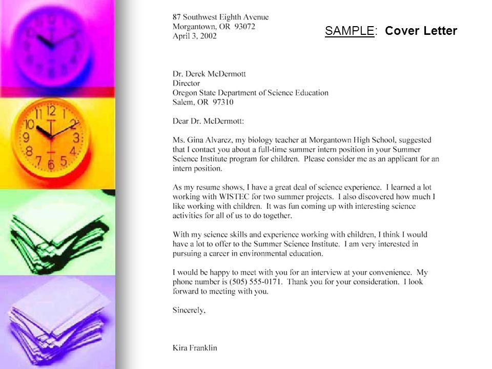 SAMPLE: Cover Letter