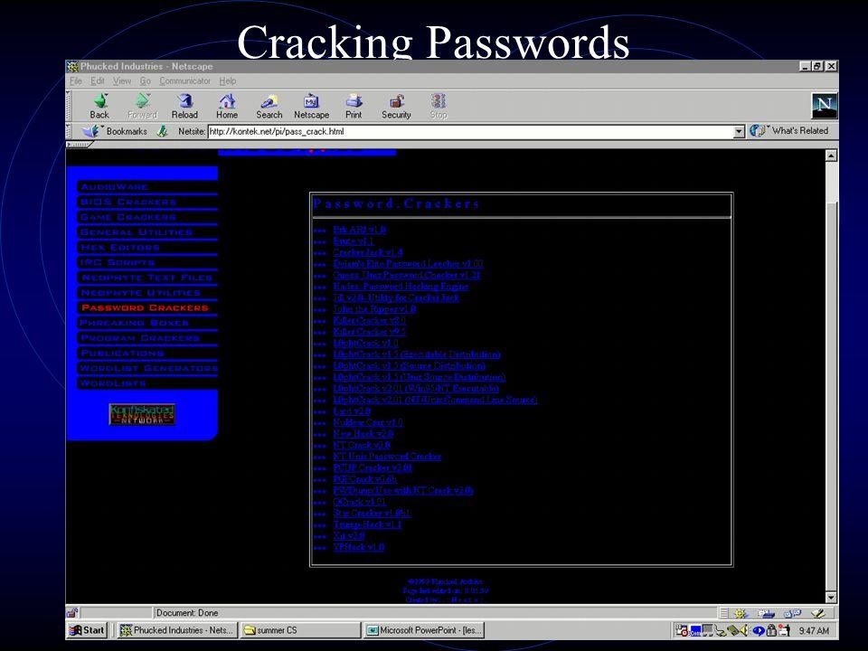 Cracking Passwords